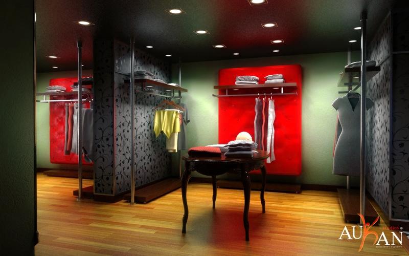 tienda ropa rotulada con vinilos vintage en las paredes