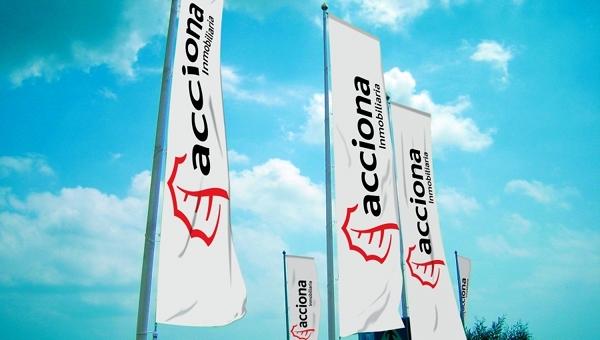 acciona inmobiliaria banderas voladoras flying banner